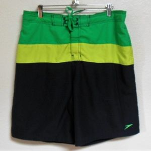 Speedo Green and Black Board Shorts